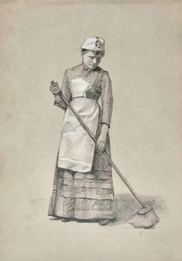 Mary Cummings Browne Woman Sweeping, c. 1870-1880