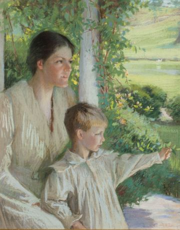 LYDIA FIELD EMMET Mother and Child in Garden Framed