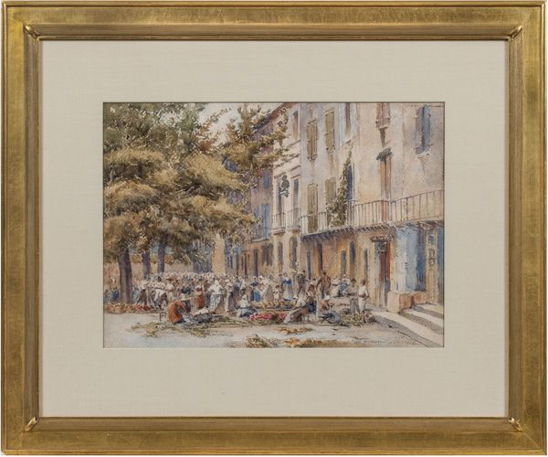 Florence Vincent Robinson A Market Place, Collioure, Southern France Framed