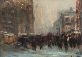 Ernest Frederick Meyer New York Street Scene Unframed