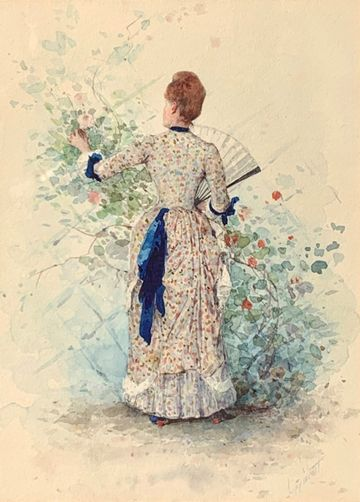 William Henry Lippincott Woman in a Garden unframed