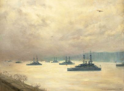 Mary Fairchild Low Battleships on Hudson Unframed