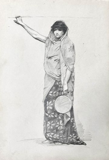Mary Cummings Browne Woman Holding a Round Fan