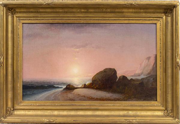 Lemuel M. Wiles Seascape View From the Shore at Sunset, Narragansett, Rhode Island Framed