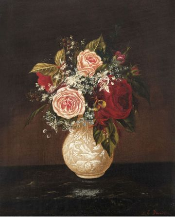 Sarah E. Davis Still-Life of Roses in a Porcelain Vase