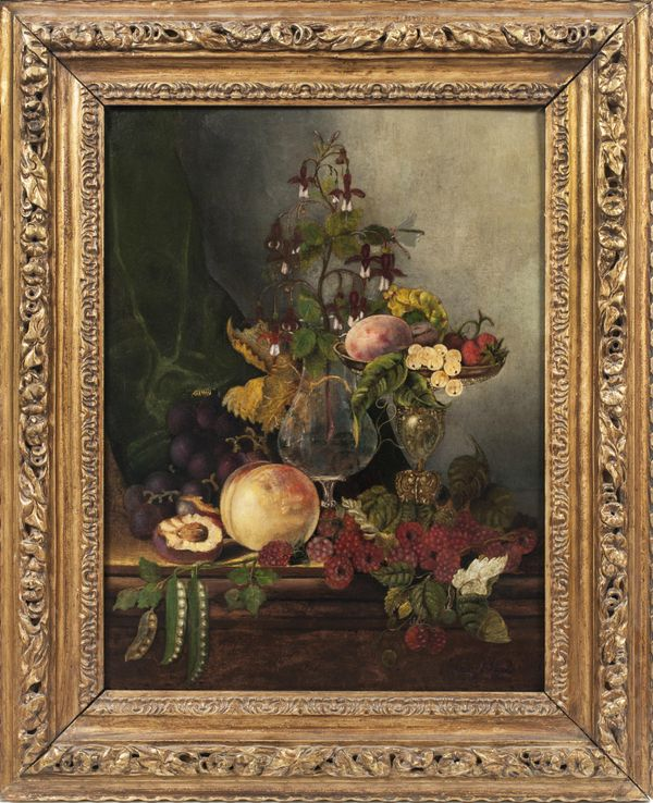 MARY JANE PEALE Still-Life with Fruit and Flowers Framed