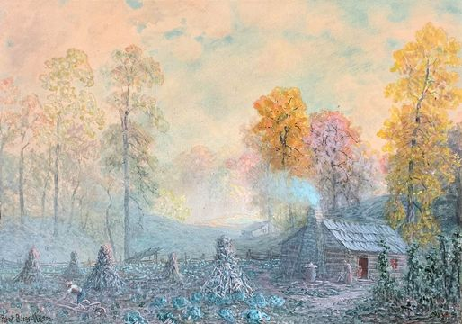 Robert Burns Wilson Kentucky Cabin and Corn Shocks