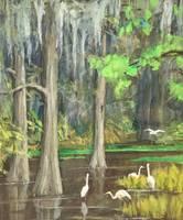 Jean Fleming Egrets in the Creek unframed