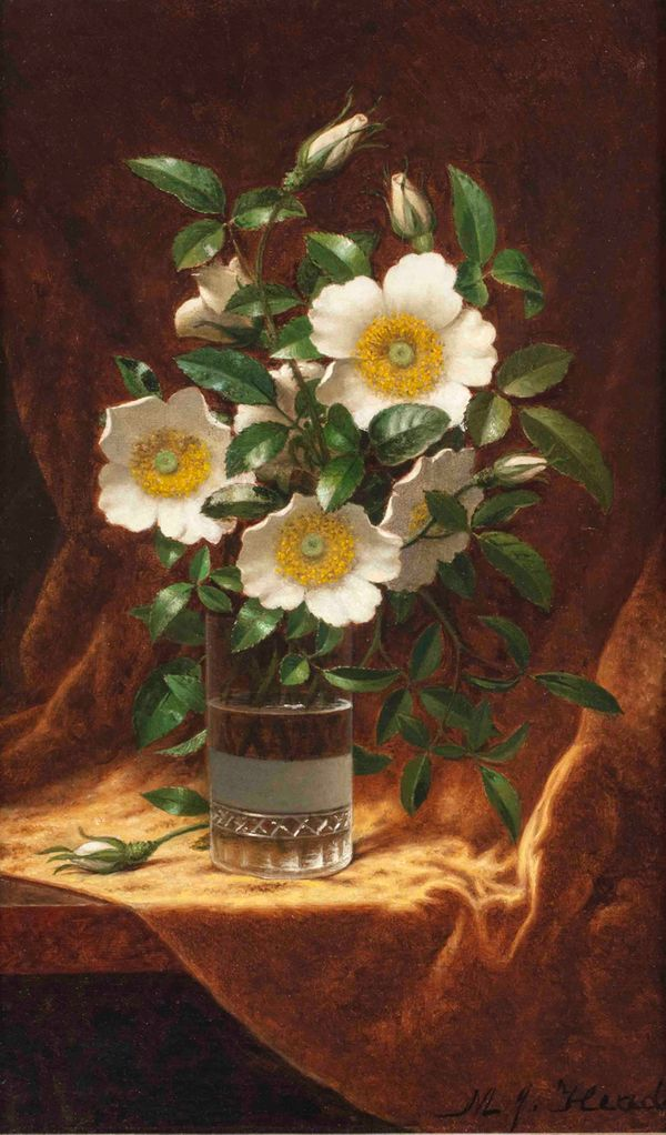 Martin Johnson Heade Cherokee Roses in a Glass unframed