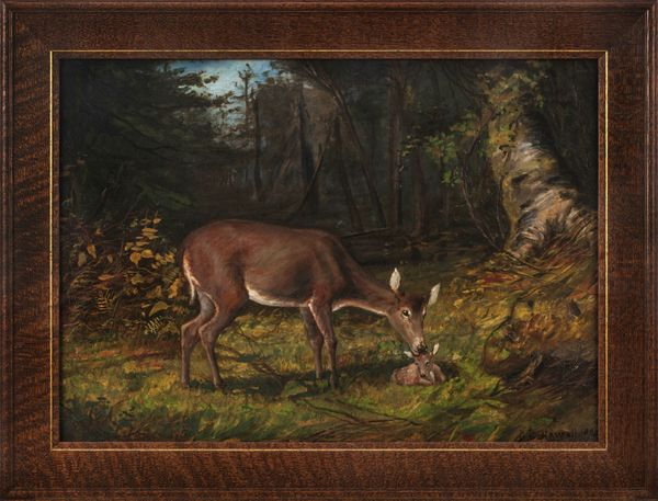 George Glenn Newell Deer in a Woodland Landscape Framed