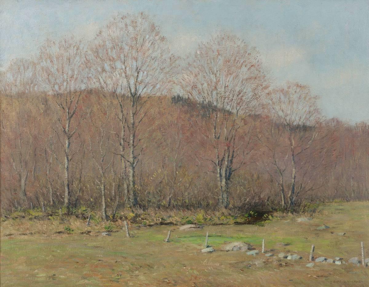 Clark Greenwood Voorhees Spring Landscape with Fence Posts Unframed