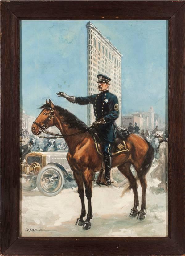 Frank Tolles Chamberlain  Policeman on Horseback, Flatiron Framed