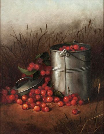 IRENE  E.  PARMELLE  (PARMELY)  Still  Life  (The  Cherry  Pail)