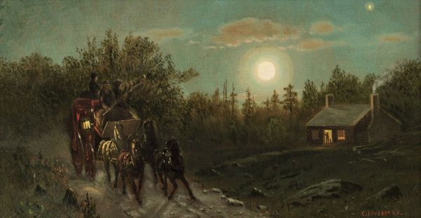 Clinton Loveridge Carriage by Moonlight  Unframed
