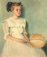 Mary Lane McMillan Girl with Fan unframed