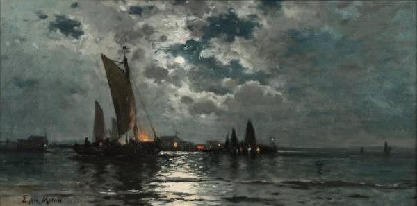 Edward Moran Ships in Moonlight unframed