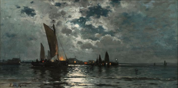 Edward Moran Ships in Moonlight unframed
