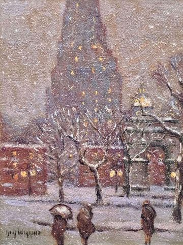 Guy C. Wiggins Winter Washington Square - Winter unframed