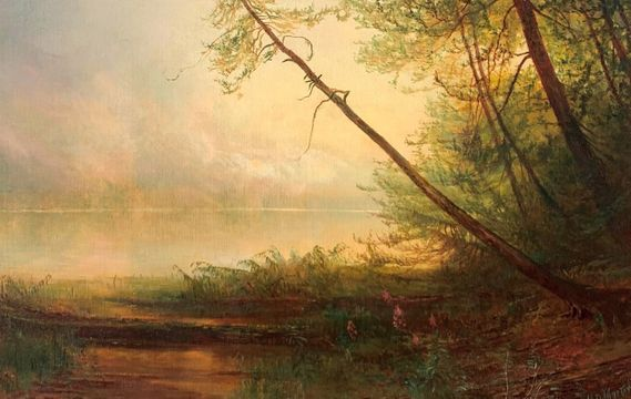 Homer Dodge Martin Misty Morning on an Adirondack Lake