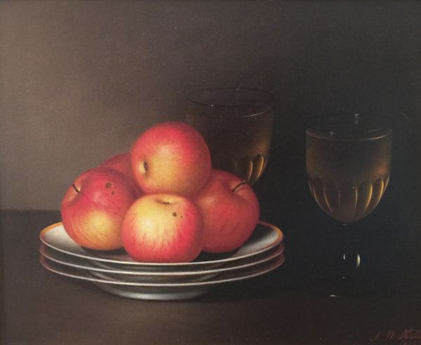 Amanda M. McLean Still-life with Apples and Wine Unframed