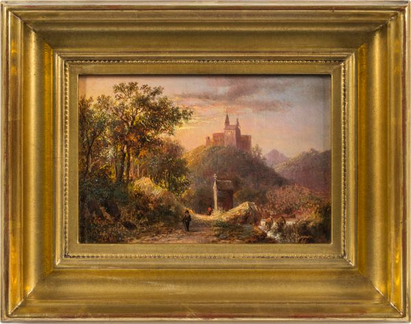 Joseph Antonio Hekking  Chapel by the Wayside talian Scenery framed