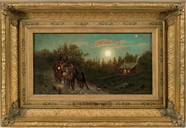 Clinton Loveridge Carriage by Moonlight Framed