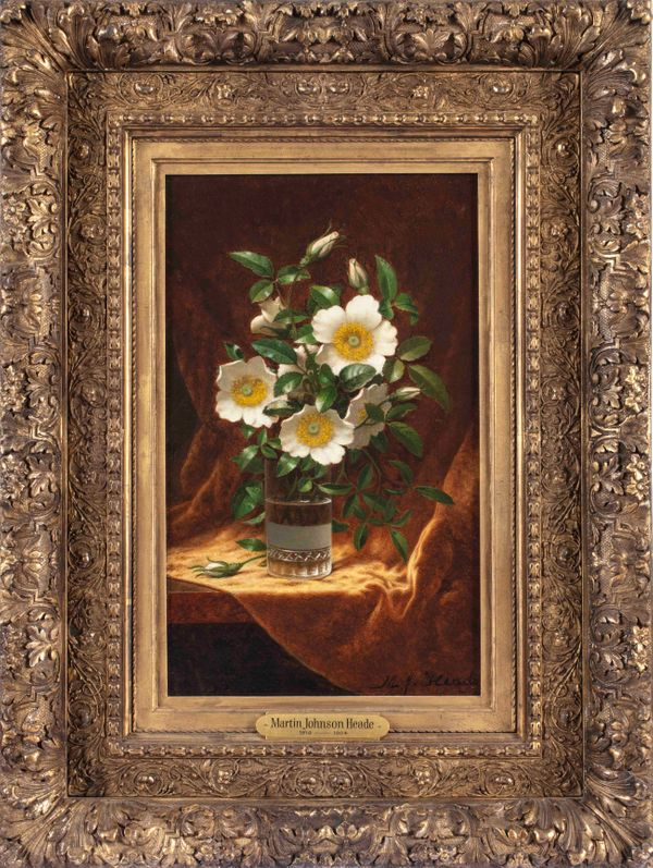 Martin Johnson Heade Cherokee Roses in a Glass