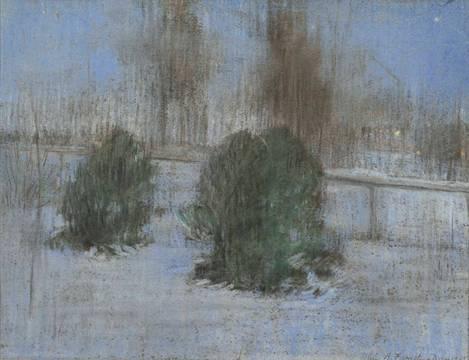 Alice Helm French Evening Snow Scene unframed