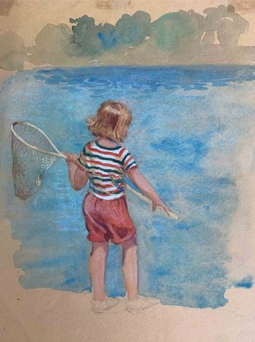 Mary Lane McMillan Young Girl with Net unframed