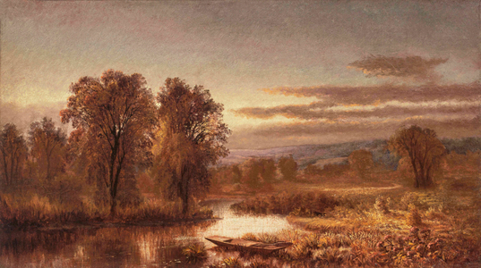 Mary Josephine Walters Autumn River with Punt in the Reeds