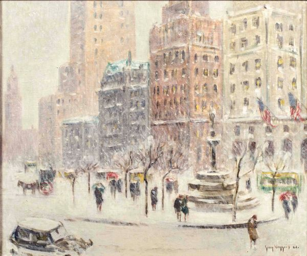 Guy Wiggins Winter at the Plaza