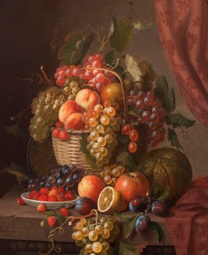 PAUL LACROIX STILL LIFE, BASKET OF FRUIT, UNFRAMED
