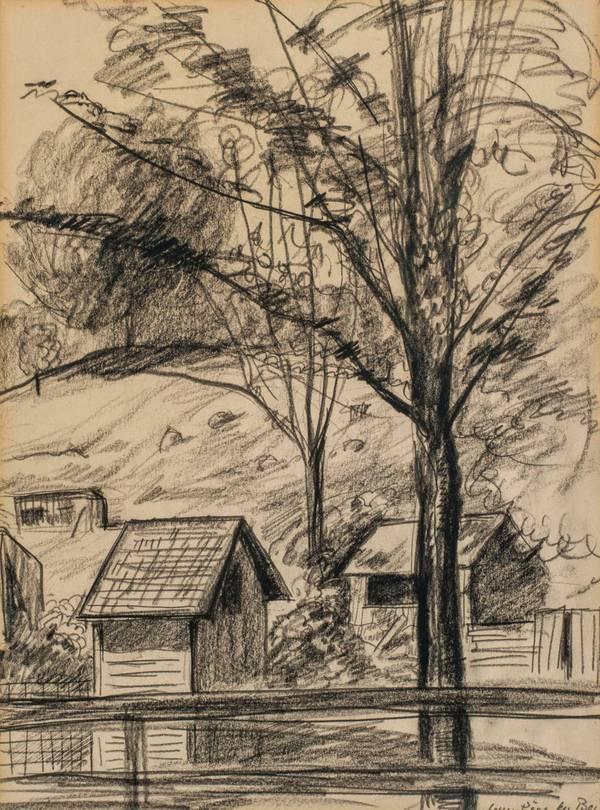 Guy Pene Du Bois Connecticut Farm Scene unframed