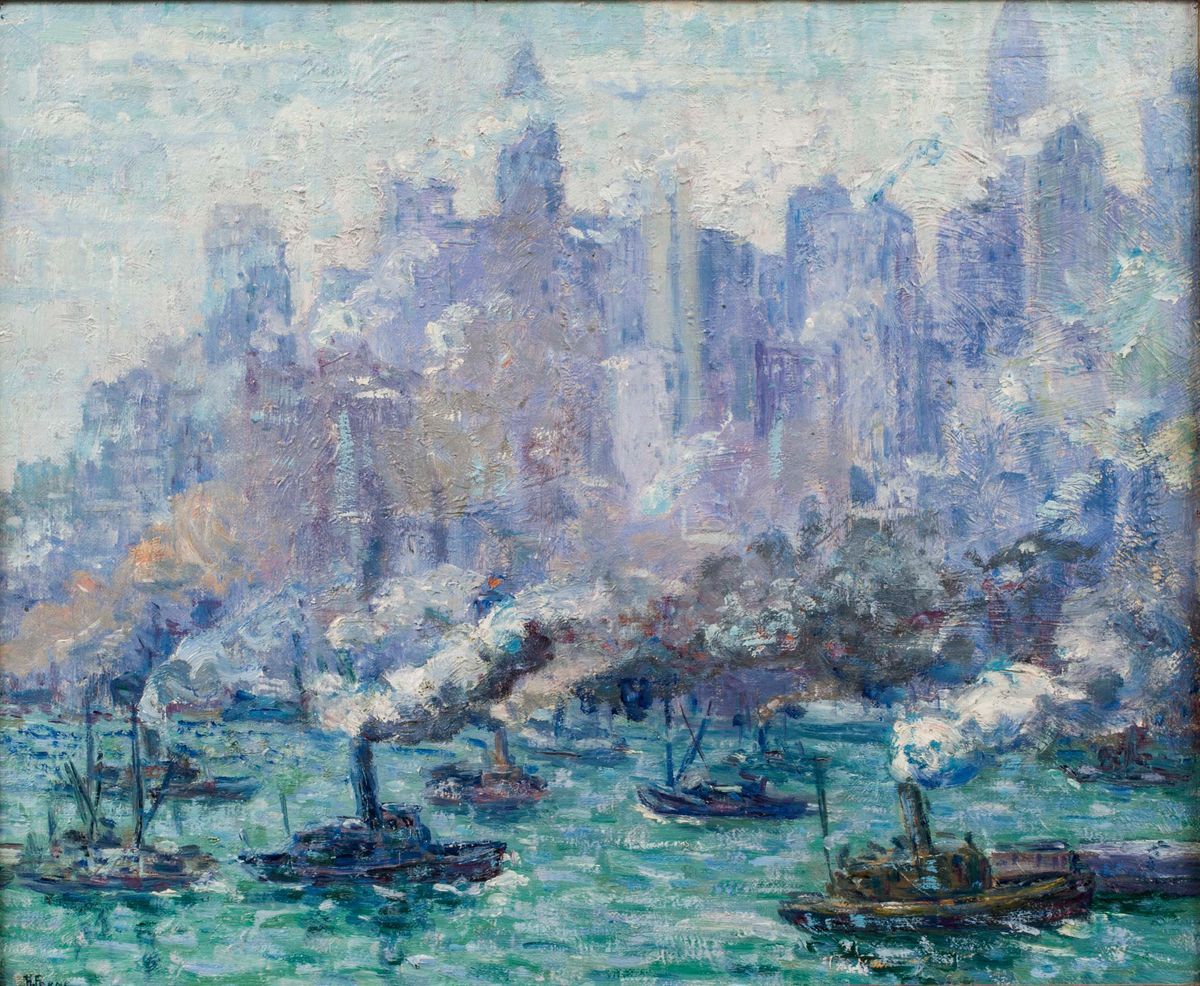 HORTENSE TANENBAUM FERNE (1889-1976) Activity: Lower Manhattan, New York City, c. 1935 {from Brooklyn Bridge Park}
