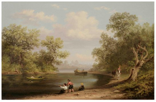 Xanthus Smith Fishing Scene in Pennsylvania Unframed