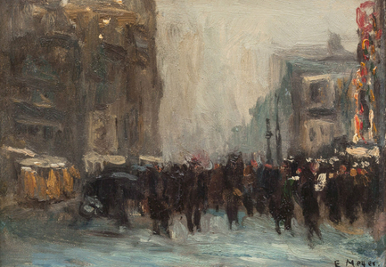 Ernest Frederick Meyer New York Street Scene Unframed