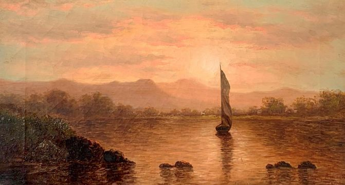 Mary Kollock Sunset on the Hudson River, 1870