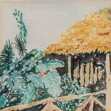 Mary Fleener Thatch House Hawaii 1950 unframed