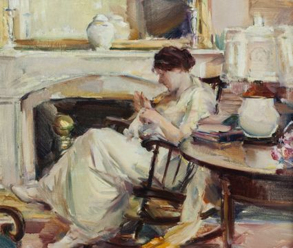 ELIZABETH SPARHAWK-JONES Woman in an Interior Unframed