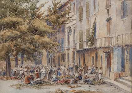 Florence Vincent Robinson A Market Place, Collioure, Southern France Unframed