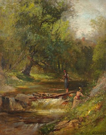Samuel Lancaster Gerry Ladies Hiking in the White Mountains Unframed
