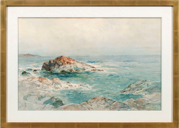 Alfred T. Bricher Low Tide, Indian Rock, Narragansett, RI Framed