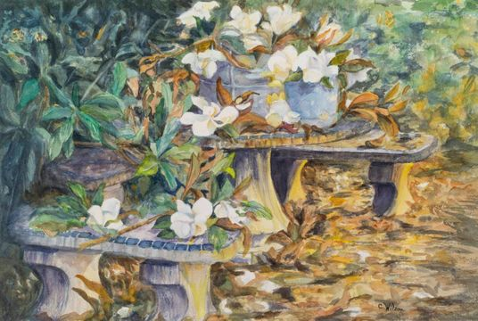 Caroline Davis Wilson Magnolias on a Tabletop, Charleston Gardens_unframed