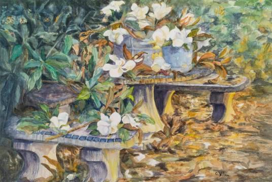 Caroline Davis Wilson Magnolias on a Tabletop, Charleston Gardens_unframed