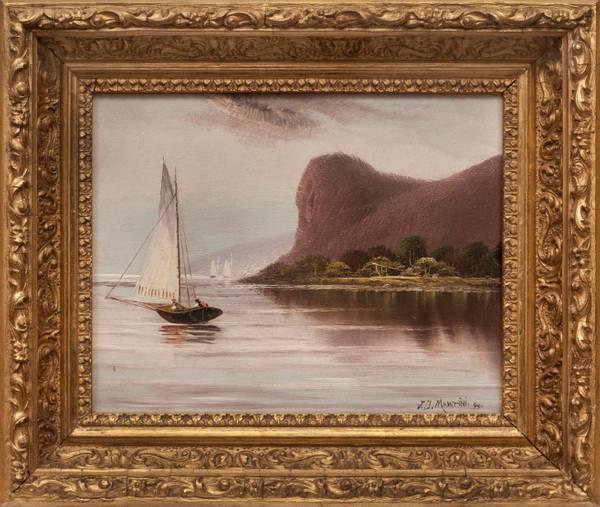 Martini Sailing on the Hudson River Framed