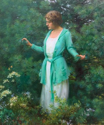 Charles Courtney Curran The Green Jacket and White Pines, 1922
