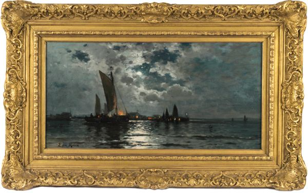 Edward Moran Ships in Moonlight