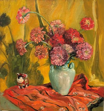 Alice Lolita Muth Still-life of Oeillets and Figurine
