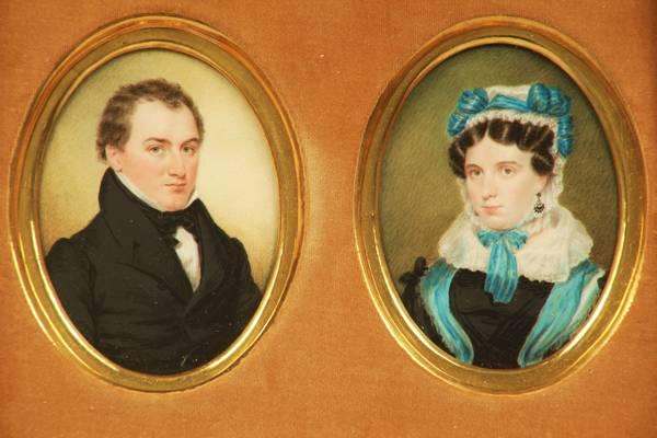 Sarah Goodridge James Trask Woodbury & Augusta Porter Woodbury, 1828, detail