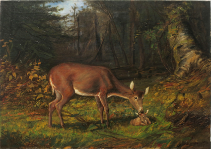 George Glenn Newell , Deer in a Woodland Landscape Unframed